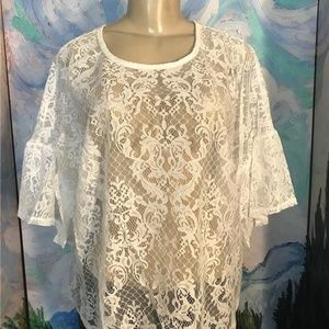 Bobeau  White Sheer Lace Elbow Bell Sleeve Top